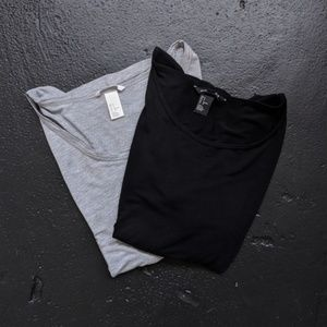 LOT OF 2 H&M Basic Scoop Neck Tops – size S